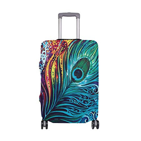 Luggage Cover Vibrant Peacock Feather Suitcase Protector Travel Luggage 18-32 Inch