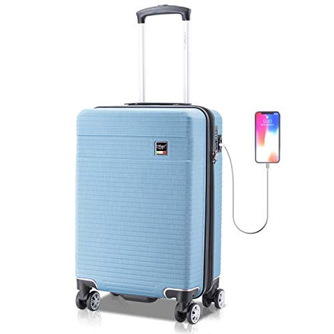Villago Hardshell Carry On USB port Polycarbonate 8 Wheel Spinner with Slash Proof Zipper TSA Lock and Expandable Zipper (22x14x9) (AQUA) / Maleta De Viaje De Polycorbonato Con USB Y Candado
