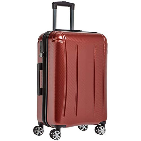 AmazonBasics Oxford Expandable Spinner Luggage Suitcase with TSA Lock - 28 Inch, Red