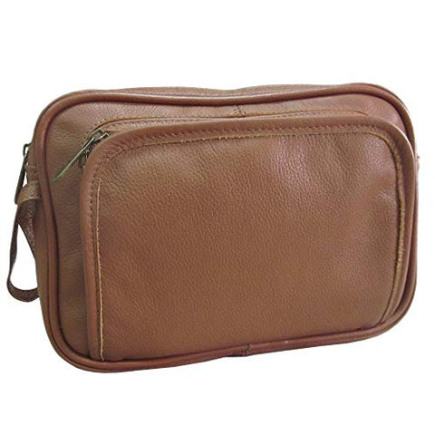 AmeriLeather Leather Travel Toiletry Bag (Brown)