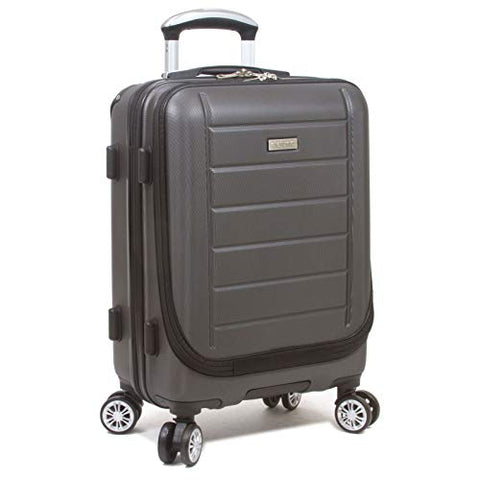 Dejuno Compact Hardside 20-Inch Carry-on Luggage with Laptop Pocket - Charcoal