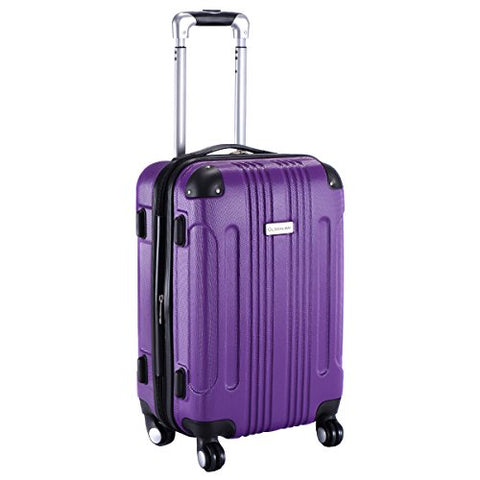 "GHP Purple 14""Wx10""Thickx20""H 4-Wheel Spinner Lightweight Expandable Trolley Suitcase"