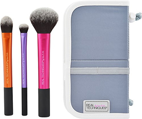 Real Techniques Cruelty Free Travel Essentials Set With Ultra Plush Custom Cut Synthetic