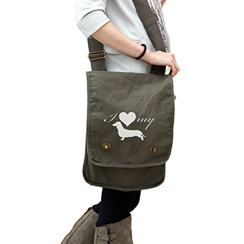 I Love My Dachshund Weiner Dog Silhouette Heart 14 oz. Authentic Pigment-Dyed Canvas Field Bag Tote