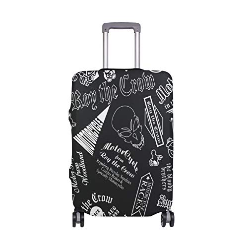 DEYYA Cute Crow Skull Head Chariot Spandex Travel Luggage Protector Suitcase Cover Fit 22-24 Inch