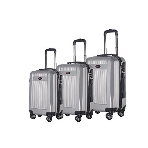 BRIO Luggage 3-Piece Hardside Spinner Luggage Set Silver