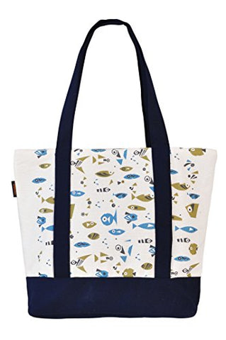 Vietsbay'S Women Fishprint Heavyweight White Canvas Handbags