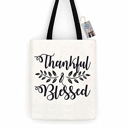Thankful & Blessed Thanksgiving Cotton Canvas Tote Bag Day Trip Bag Carry All