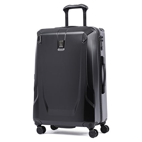 "Travelpro Luggage Crew 11 25"" Polycarbonate Hardside Spinner Suitcase, Obsidian Black"