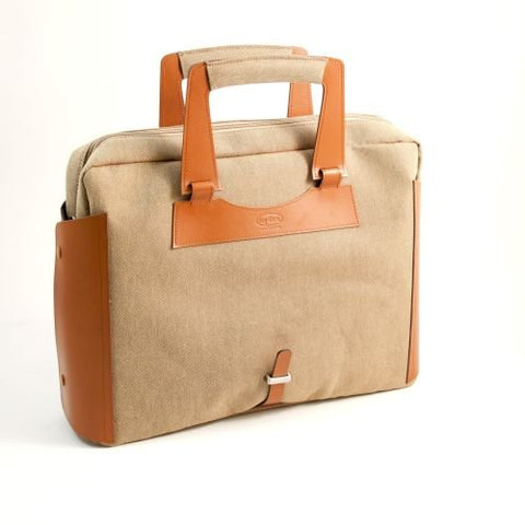 Saddle Leather & Khaki Fabric Briefcase with Padded Computer Compartment and Shoulder Strap