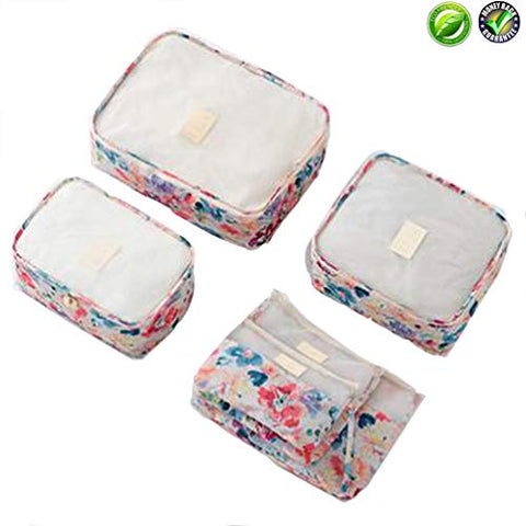 6 Set Packing Cube - 3 Travel Cubes + 3 Compression Pouches for Travel