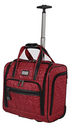 Nicole Miller Signature Quilt Under Seat Bag Carry On (Burgundy)