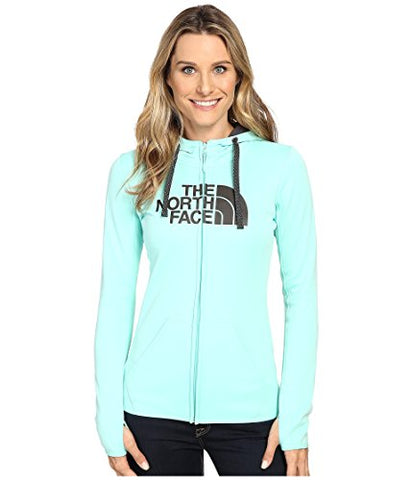 North Face Womens W FAVE HALF DOME FULL ZIP HOODIE, Ice Green/Asphalt Grey, S