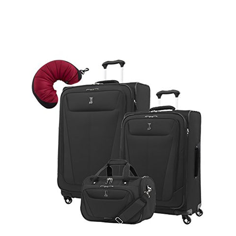 "Travelpro Maxlite 5 | 4-Pc Set | Soft Tote, 25"" & 29"" Exp. Spinners With Travel Pillow (Black)"
