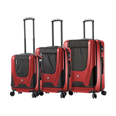 "Mia Toro Ibeido Italy Hardside Spinner Luggage 3 Piece Set (20"", 24"", 28""), Red"