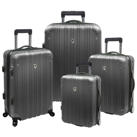 "Traveler'S Choice Luxembourg 4-Piece Lightweight Expandable Spinner Set, Titanium (18""/21""/25""/29"")"