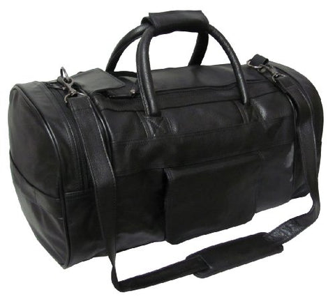 AmeriLeather Leather Dual Zippered Duffel (Black)