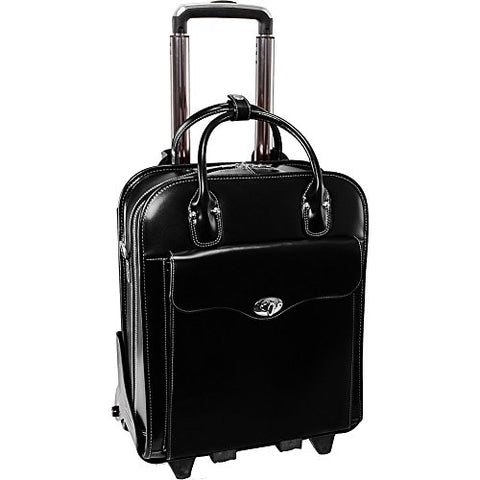 "McKlein USA Melrose 15"" Vertical Rolling Leather Laptop Tote EXCLUSIVE (Black)"