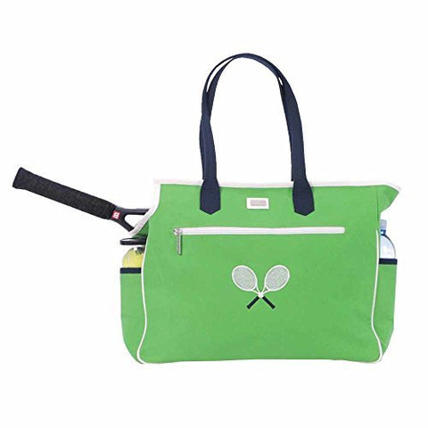 Ame & Lulu Women's Crossed Racquet Tennis Court Bag-Green/Navy