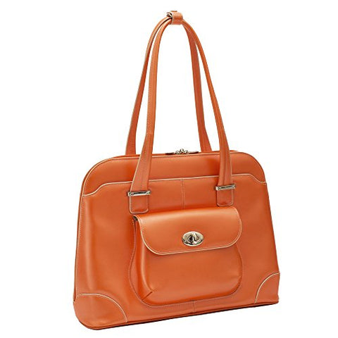 "McKlein, W Series, Avon, Top Grain Cowhide Leather, 15"" Leather Ladies' Laptop Briefcase, Orange (96650)"