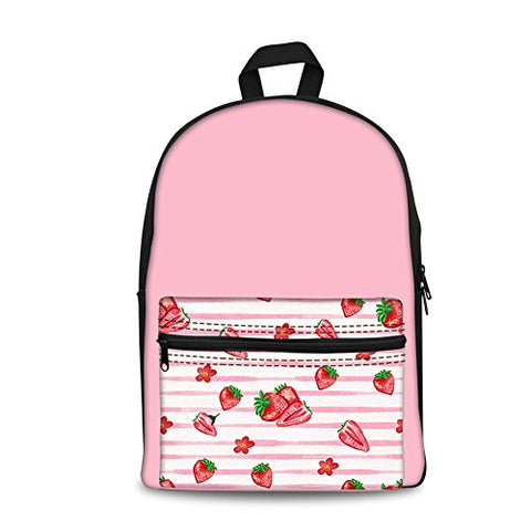 Doginthehole Cute Pink Strawberry Printing Canvas Backpack For Women Girls