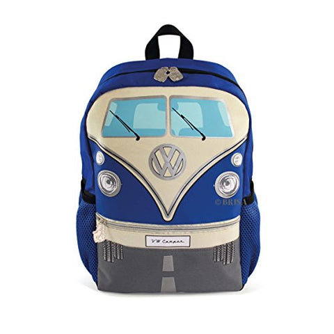 Vw Collection By Brisa Small Backpack For Kids And Adults With Vw T1 Bus Front Design (Blue)