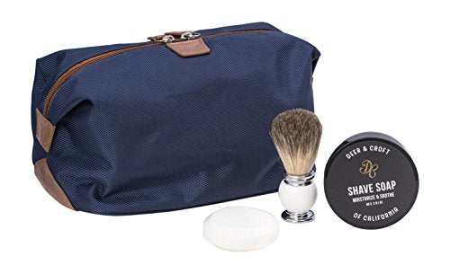 Deer & Croft Travel Set Consisting Of A Dopp Kit, Pure Badger Shave Brush And Shave Soap, Blue, 1.5 Pound