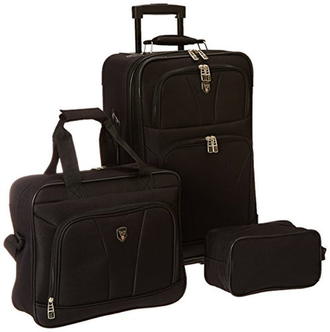 Bowman Collection- 3 Piece Traveler's Carry-On Set in Black