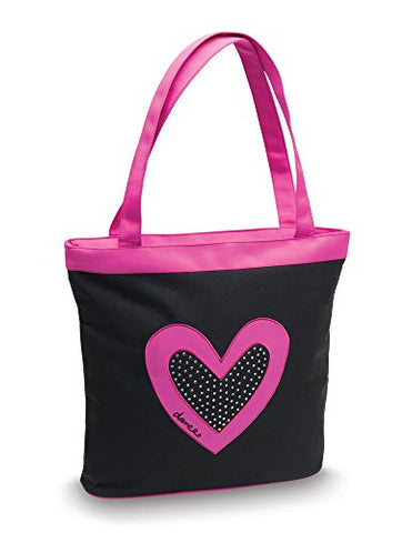 Dancer's Heart with Rhinestones Black Tote Bag by Danshuz