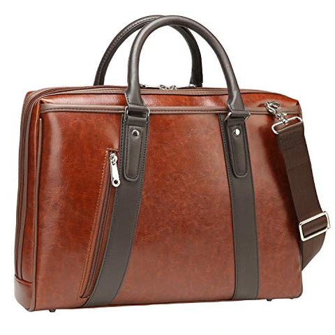 PU Leather Briefcase for Men and Women Business Shoulder 13 inch Laptop Messenger Bag Slim Work