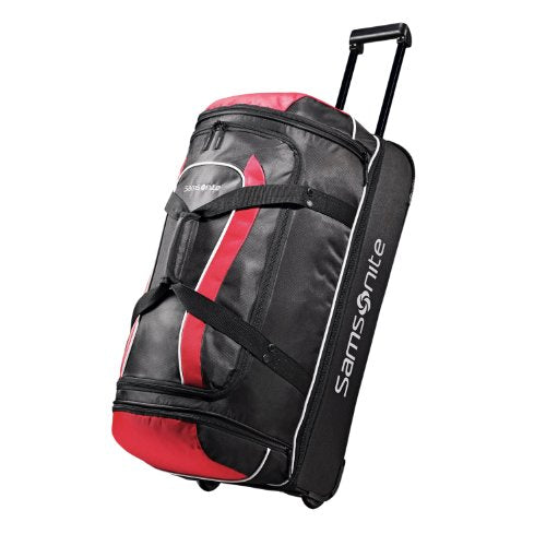Samsonite Luggage Andante Drop Bottom Wheeled Duffel, Black/Red, 28 Inch
