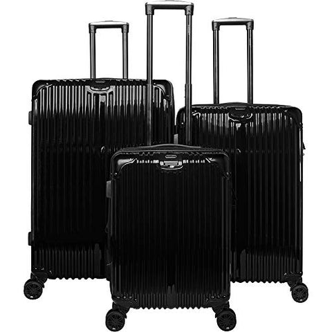 Gabbiano The Macan 3 Piece Expandable Hardside Spinner Luggage Set (Black)
