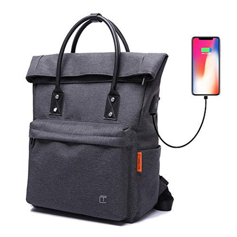 Tote Backpack Convertible with USB Charging Waterproof for School College Office Anti-Theft
