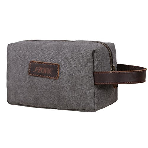 On Sale - S-Zone Canvas Travel Toiletry Bag Shaving Dopp Kit Cosmetic Makeup Bag (Gray)