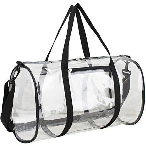 "Eastsport Clear Duffel 18"" with Removable Adjustable Crossbody Strap (from 28"" to 52""), Black"