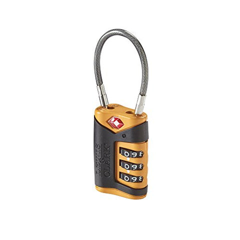 Lewis N. Clark Tsa-Approved Easy-To-Set Combination Luggage Lock With Steel Cable,  Orange,  One