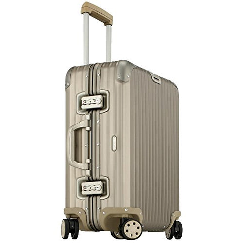 Rimowa Topas Titanium Carry on Luggage 20 Inch Cabin Multiwheel 32L Suitcase Light Bronze