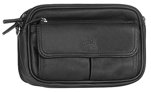 Mancini COLOMBIAN Compact Unisex Bag, Leather Toiletry Kit in Black