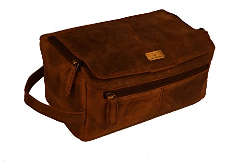 Genuine Buffalo Leather Unisex Toiletry Bag Travel Dopp Kit By Devil Hunter