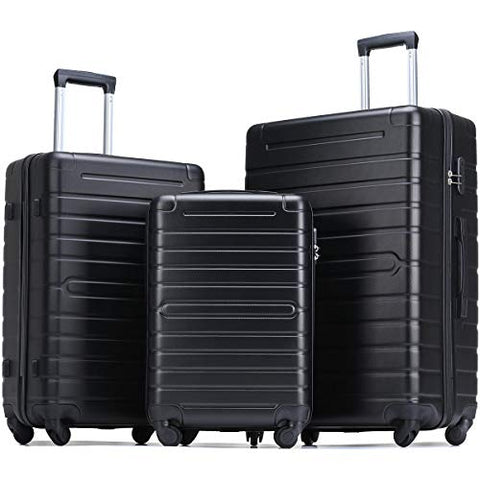 Flieks Luggage Sets 3 Piece Spinner Suitcase Lightweight 20 24 28 inch (Classic Black)