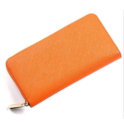Women Zipper Cross Leather Wallet Phone Case Clutch Card Change Holder Purse Bag (Color - Orange)