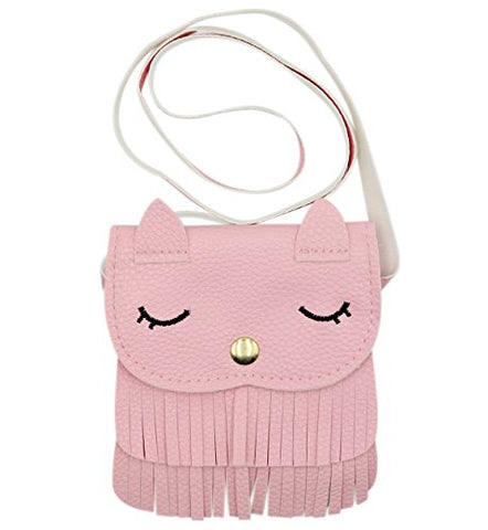 Kids Cute Cat Tassel Bag Girls Mini Satchel PU Leather Crossbody Bag Coin Pouse(Pink)