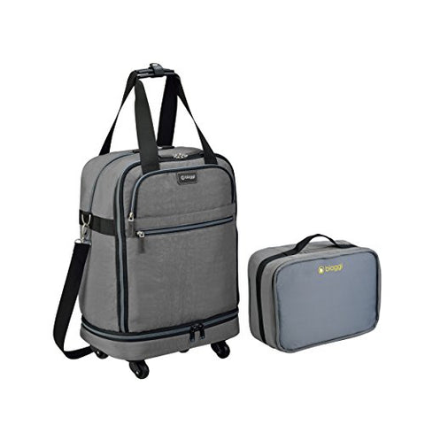 Biaggi Zipsak Micro Fold Spinner Carry-On Suitcase - 22-Inch Luggage - As Seen on Shark Tank - Gray