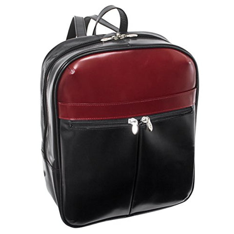 "McKlein, L Series, Edison, Top Grain Cowhide Leather, 14"" Leather Laptop Slim Backpack, Blk/Red (88136)"