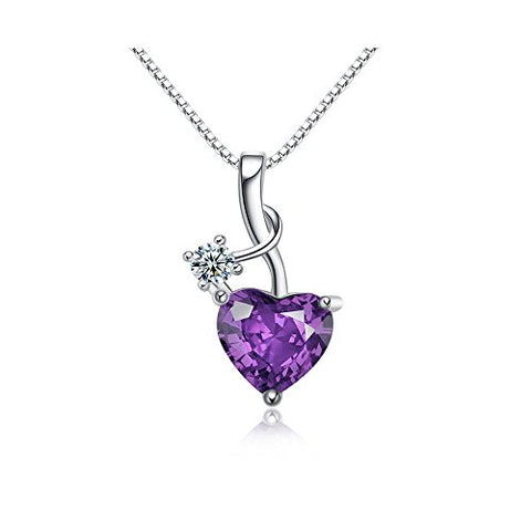 Acxico 925 Sterling Silver Amethyst Zircon Heart Shape Necklace Pendant,1 PC
