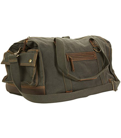 "DamnDog Canvas & Leather Carry On 19"" Over Gear Box Duffle Bag (Rebel Grey)"