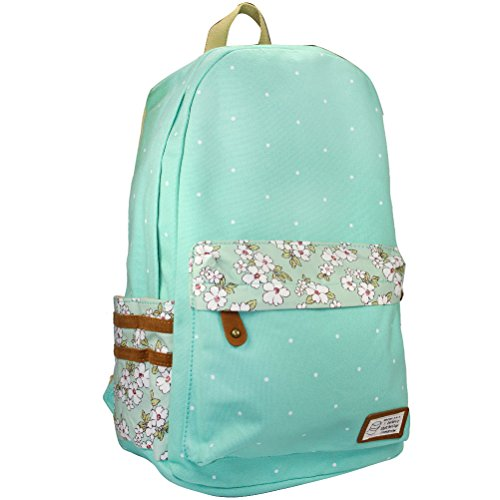 Samaz Causal Lightweight Canvas Laptop Bag/Cute backpacks/ Shoulder Bag/ School Backpack/ Travel Bag (Green)