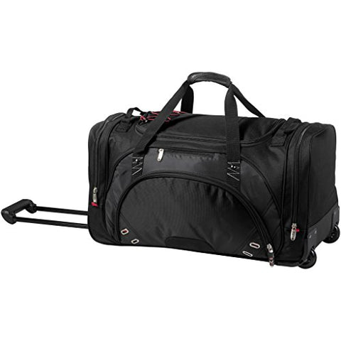 Elleven Proton Wheeled Duffel Bag (26.8 x 12.2 x 13.8 inches) (Solid Black)