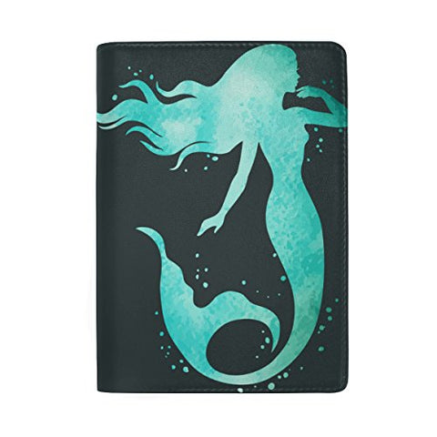 ColourLife Painted Mermaid Leather Passport Holder Cover for Men Women Kids