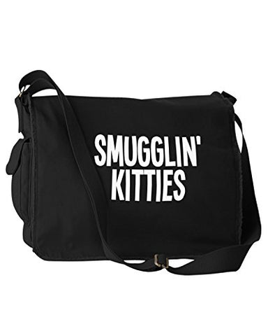 Funny Smugglin Kitties Cats Black Canvas Messenger Bag